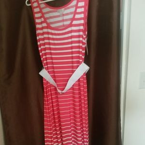 Dress Barn Dresses - Red and white striped maxi dress